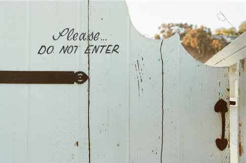 typography white door fence